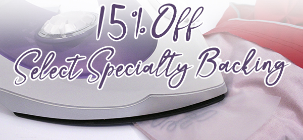15% off specialty backings