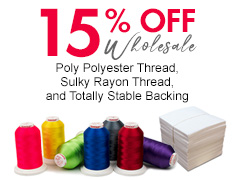 15% Poly & Rayon Thread, and Totally Stable Backing